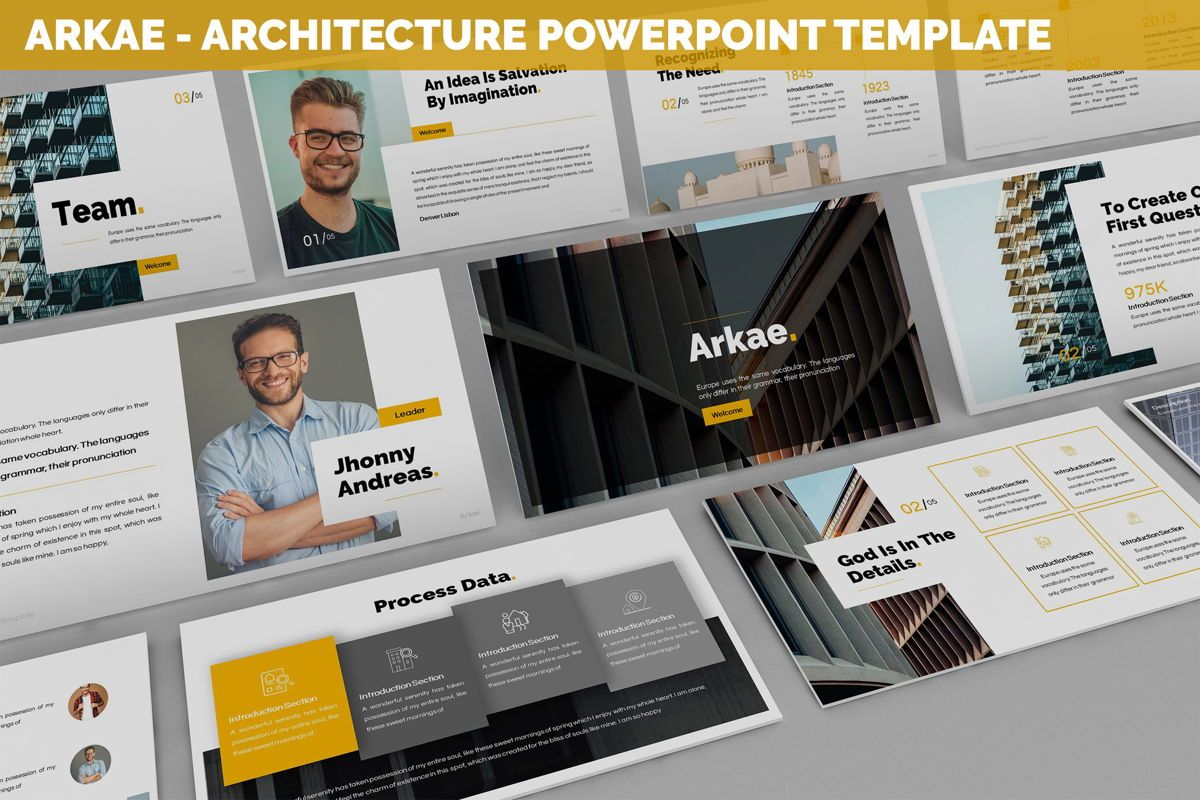 Arkae - Architecture Powerpoint Template, 06093, Data Driven Diagrams and Charts — PoweredTemplate.com