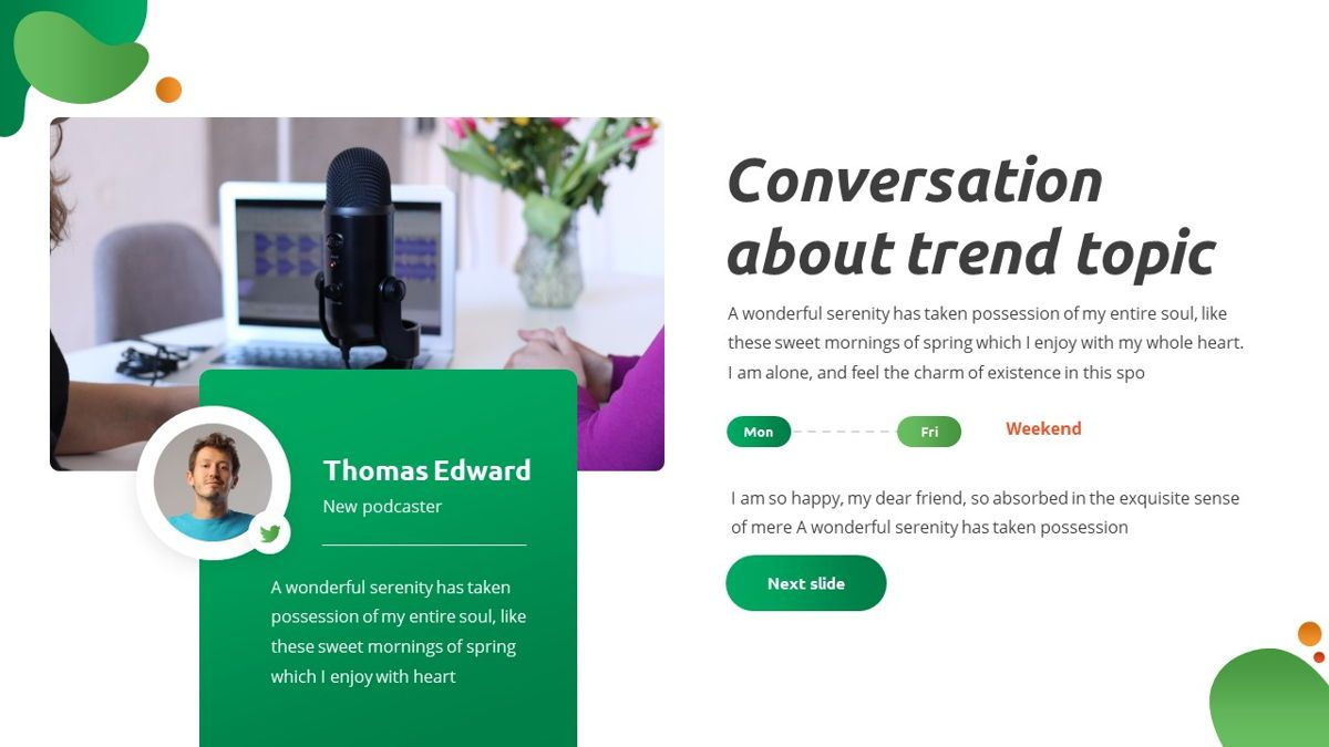 Convo - Podcast Powerpoint Template, Slide 6, 06094, Data Driven Diagrams and Charts — PoweredTemplate.com