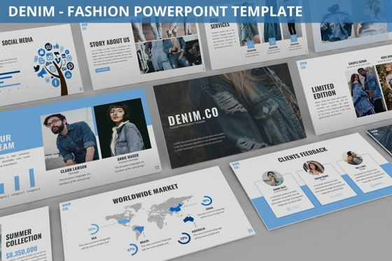 Data Driven Diagrams and Charts: Denim - Fashion Powerpoint Template #06095
