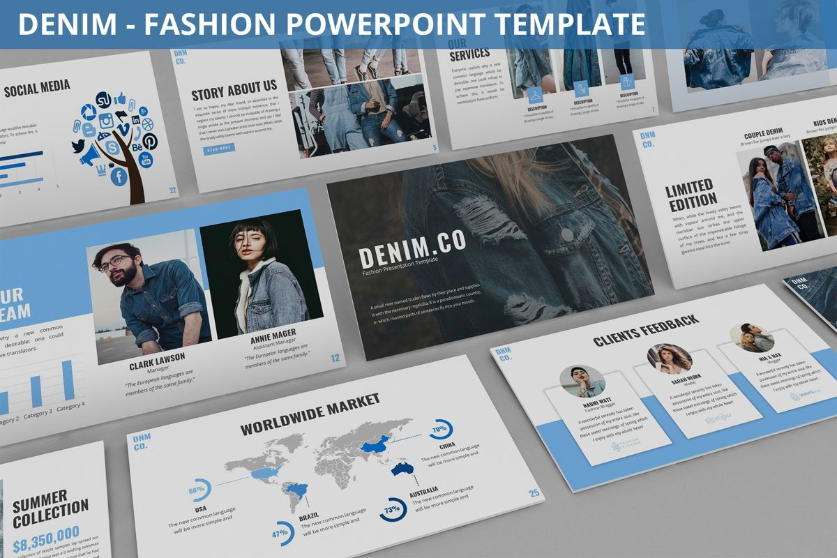 Denim - Fashion Powerpoint Template, 06095, Data Driven Diagrams and Charts — PoweredTemplate.com