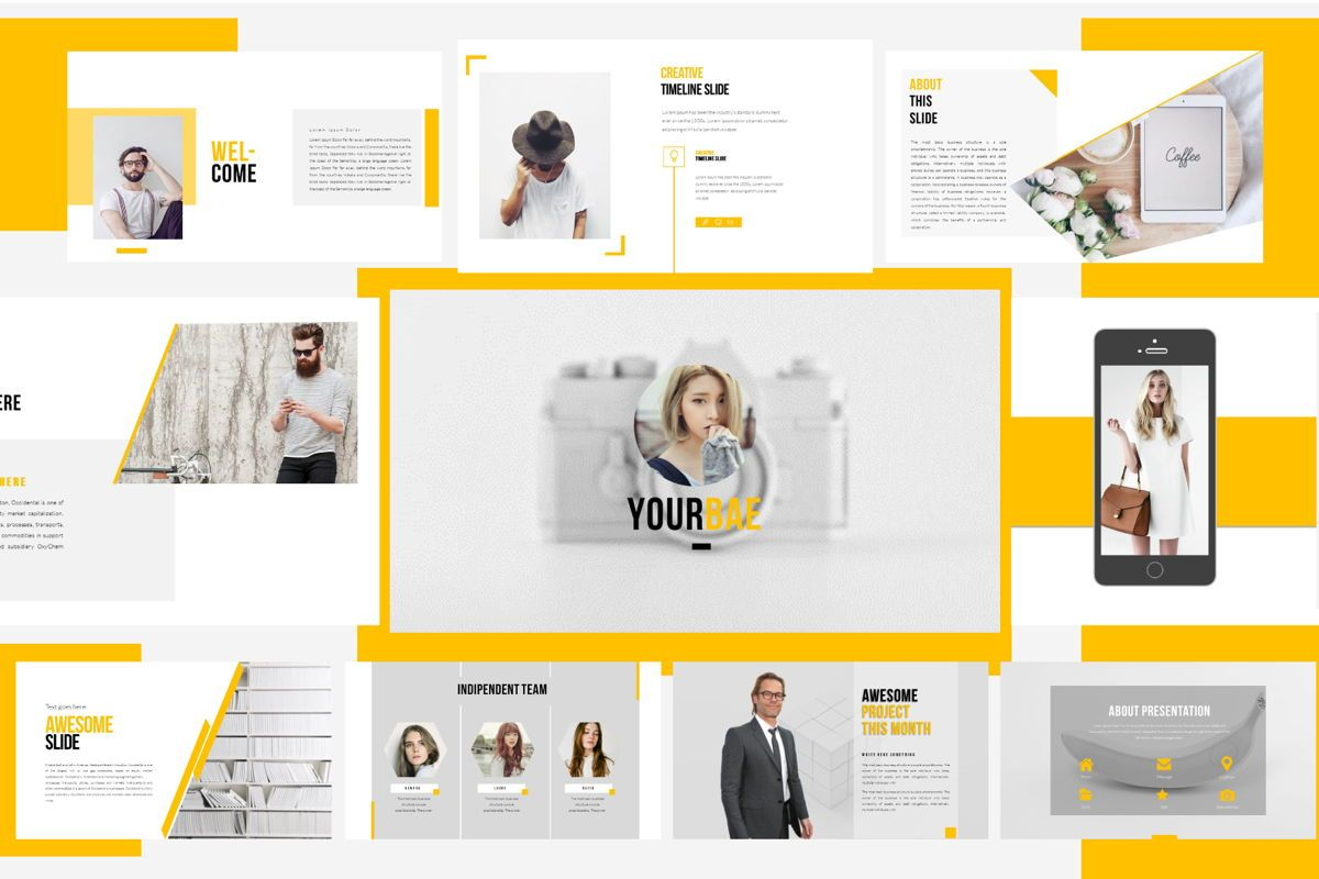 Yourbae Business Googleslide Template, 06102, Presentation Templates — PoweredTemplate.com