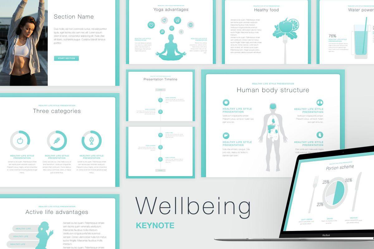 Wellbeing Keynote Template, 06128, Presentation Templates — PoweredTemplate.com
