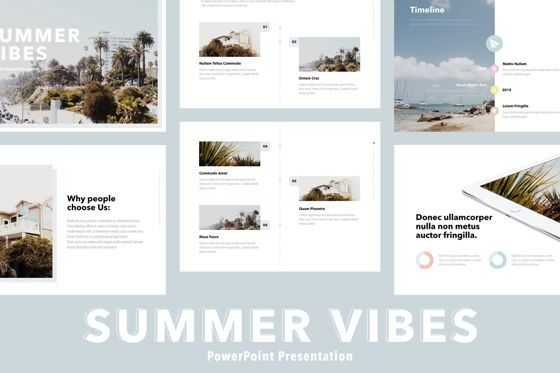 Presentation Templates: Summer Vibes PowerPoint Template #06130