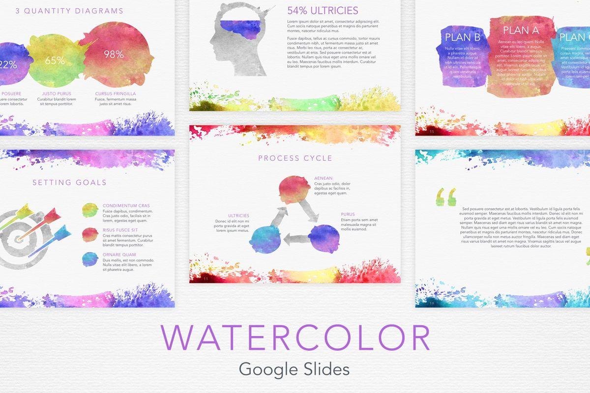 Watercolor Google Slides Template, 06157, Presentation Templates — PoweredTemplate.com
