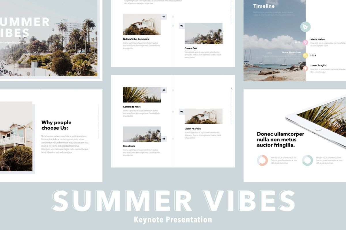 Summer Vibes Keynote Template, 06168, Presentation Templates — PoweredTemplate.com