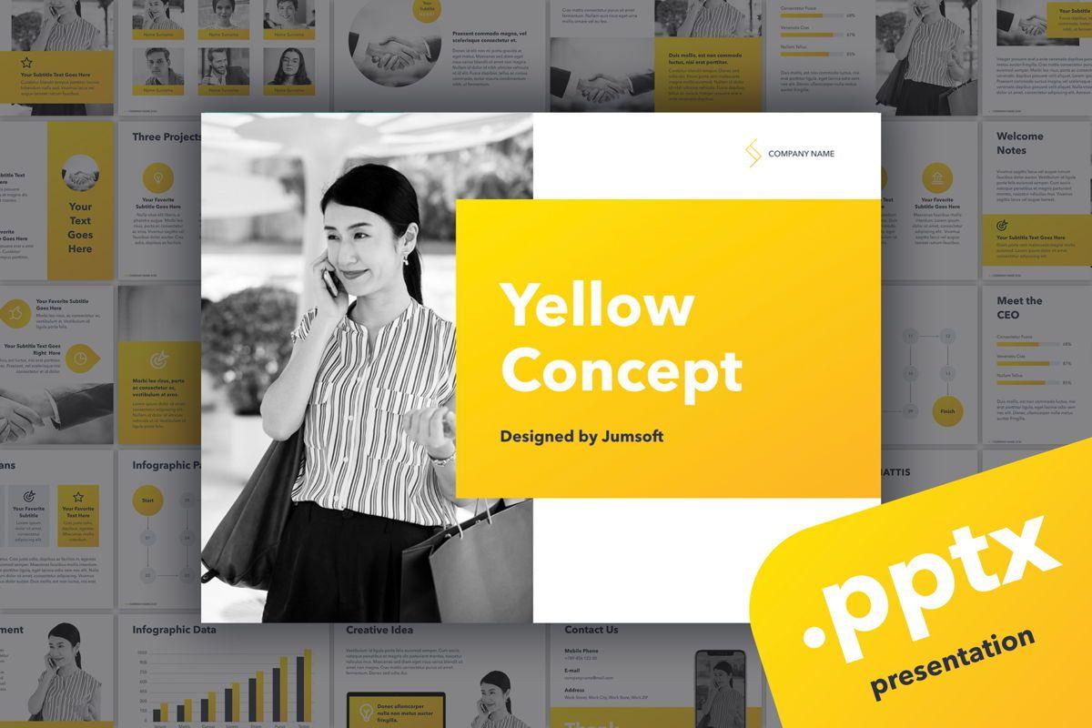 Yellow Concept PowerPoint Template, 06169, Presentation Templates — PoweredTemplate.com