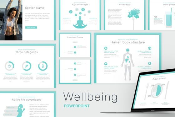 Presentation Templates: Wellbeing PowerPoint Template #06175