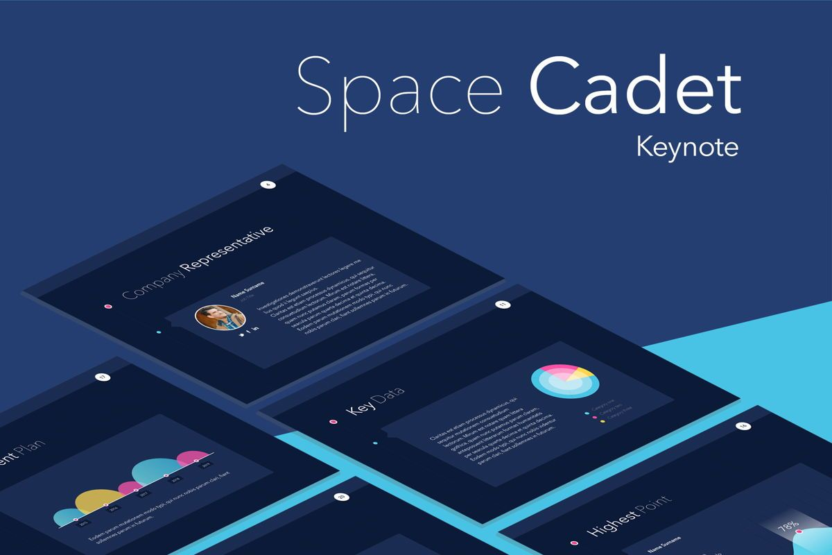 Space Cadet Keynote Template, 06177, Presentation Templates — PoweredTemplate.com