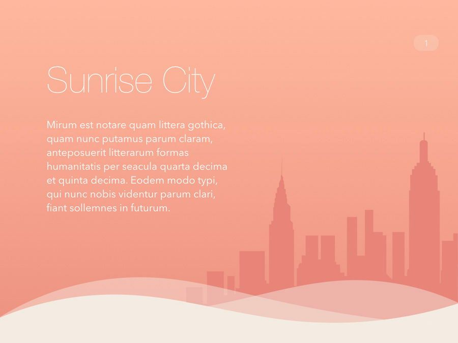 Sunrise City Keynote Template, Slide 2, 06187, Presentation Templates — PoweredTemplate.com