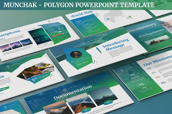 Data Driven Diagrams and Charts: Munchak - Polygon Powerpoint Template #06209