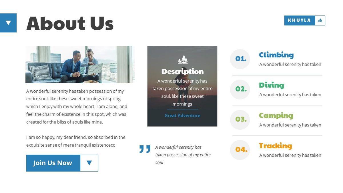 Khuyla - Adventure Powerpoint Template, Slide 5, 06213, Business Models — PoweredTemplate.com