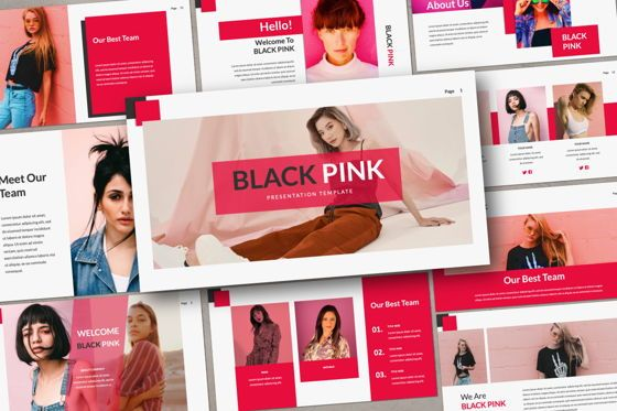Presentation Templates: Black Pink Creative Powerpoint #06214