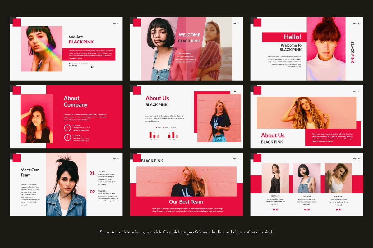 Black Pink Creative Powerpoint Presentation Template 74469