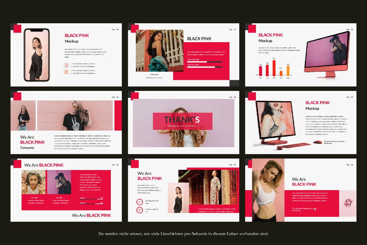 Black Pink Creative Keynote, Slide 2, 06215, Presentation Templates — PoweredTemplate.com