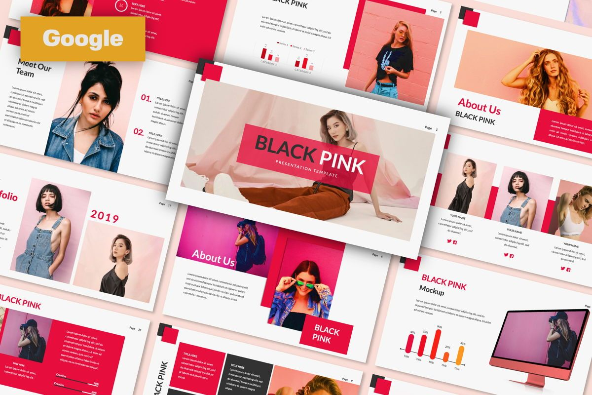 Black Pink Creative Google Slide, 06216, Presentation Templates — PoweredTemplate.com