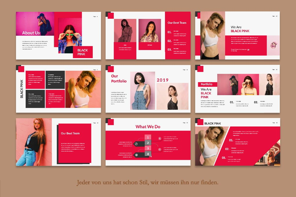 Black Pink Creative Google Slide, Slide 4, 06216, Presentation Templates — PoweredTemplate.com