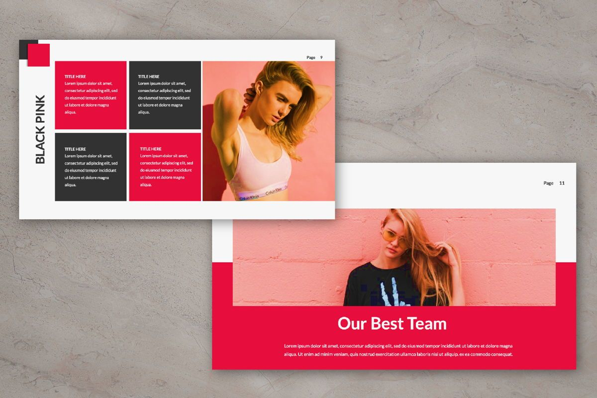 Black Pink Creative Google Slide, Slide 5, 06216, Presentation Templates — PoweredTemplate.com