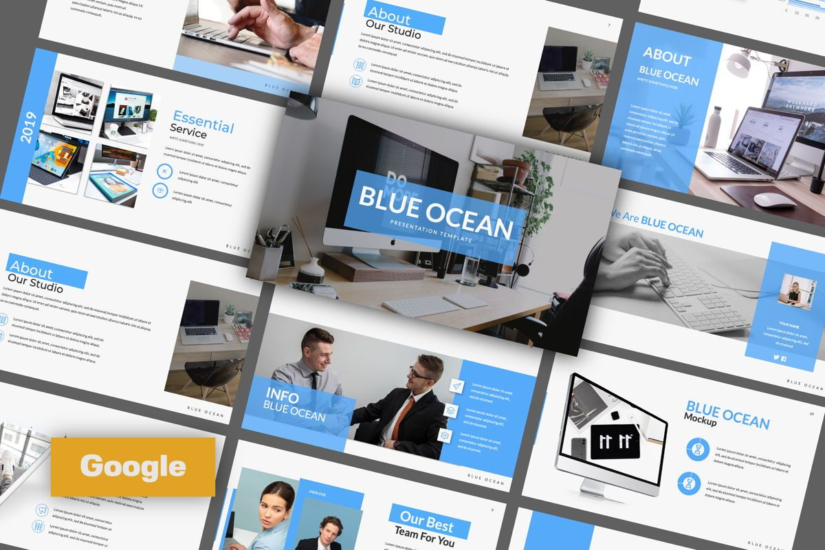 Blue Ocean Creative Google Slide, 06220, Presentation Templates — PoweredTemplate.com