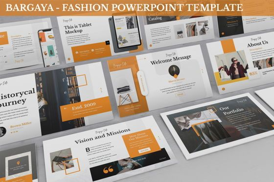 Business Models: Bargaya - Fashion Lookbook Powerpoint Template #06221