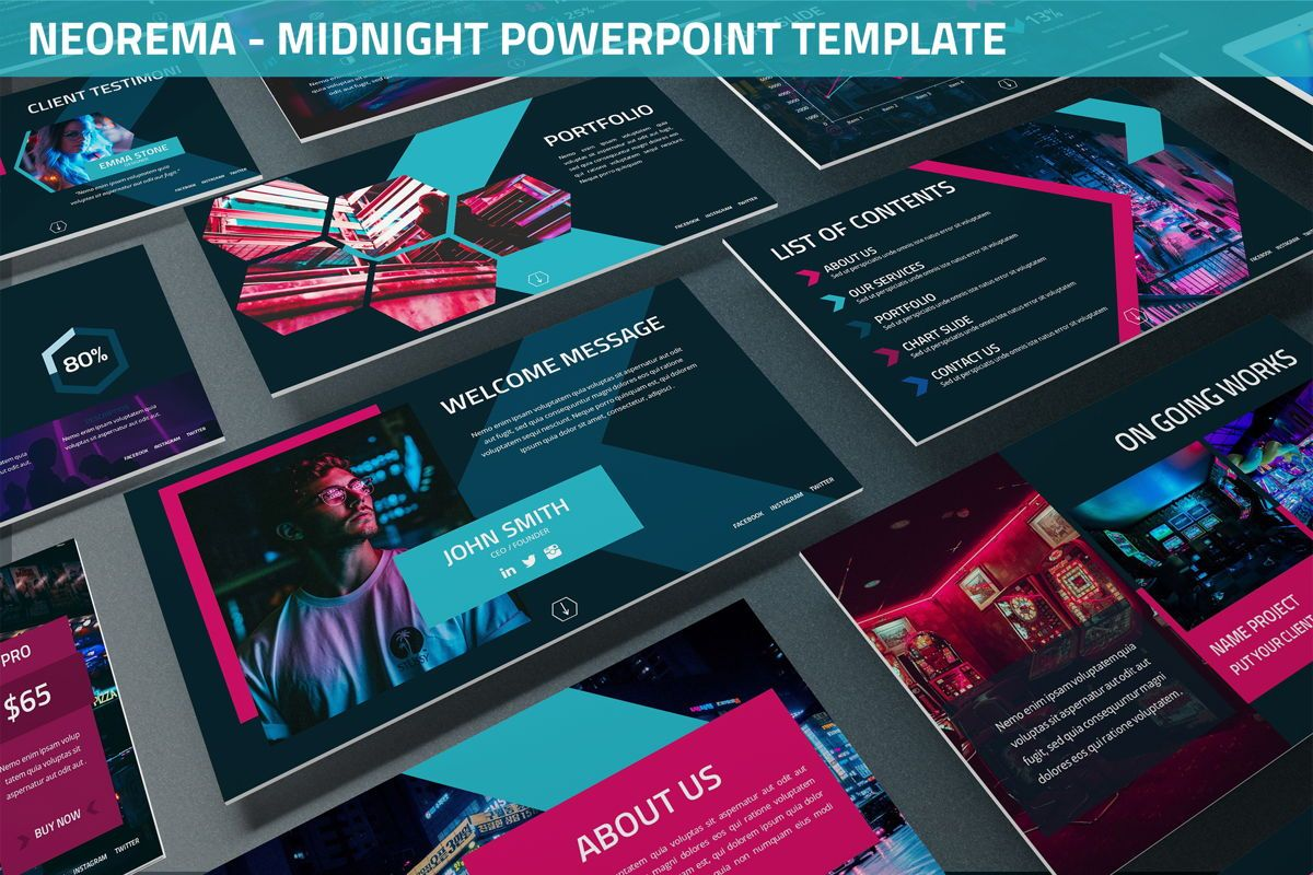 Neorema - Midnight Powerpoint Template, 06227, Data Driven Diagrams and Charts — PoweredTemplate.com