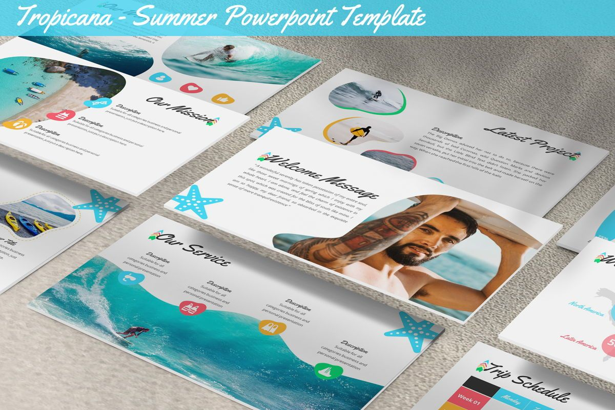 Tropicana - Summer Powerpoint Template, 06229, Data Driven Diagrams and Charts — PoweredTemplate.com