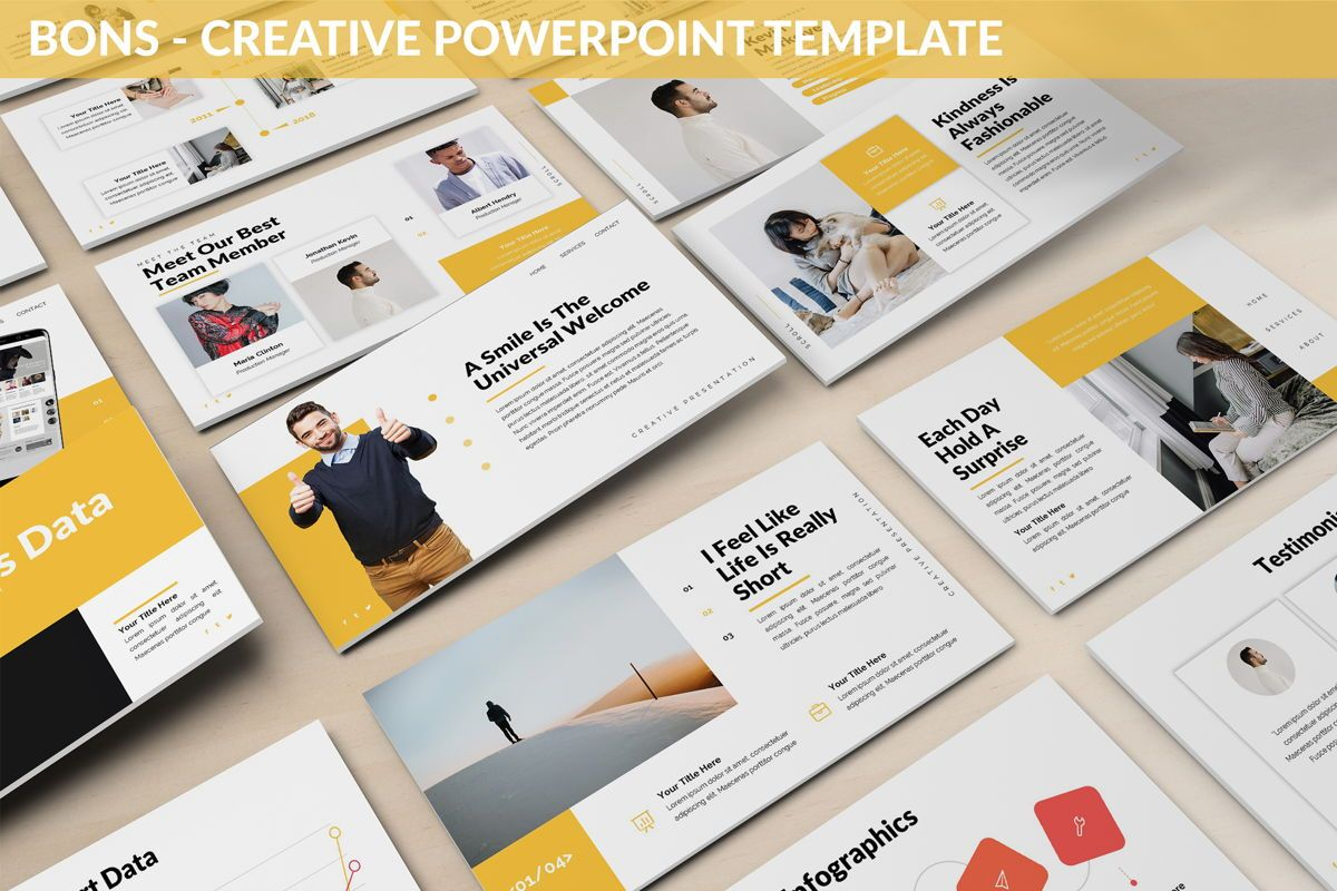 Bons - Creative Powerpoint Template, 06232, Data Driven Diagrams and Charts — PoweredTemplate.com