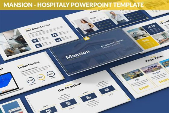 Business Models: Mansion - Hospitality Powerpoint Template #06233