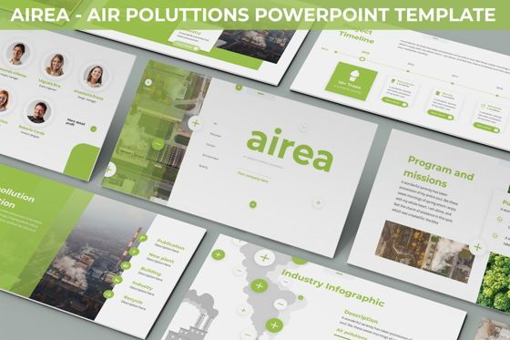 Data Driven Diagrams and Charts: Airea - Air Pollutions Powerpoint Template #06235