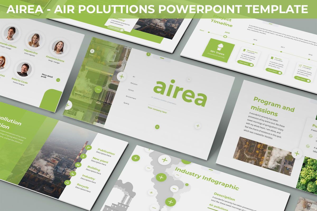 Airea - Air Pollutions Powerpoint Template, 06235, Diagrammi e Grafici con Dati — PoweredTemplate.com