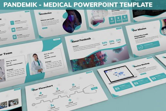 Data Driven Diagrams and Charts: Pandemik - Medical Powerpoint Template #06238