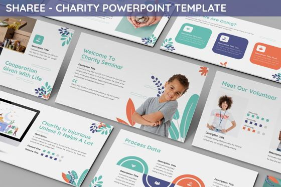 Data Driven Diagrams and Charts: Sharee - Charity Powerpoint Template #06241