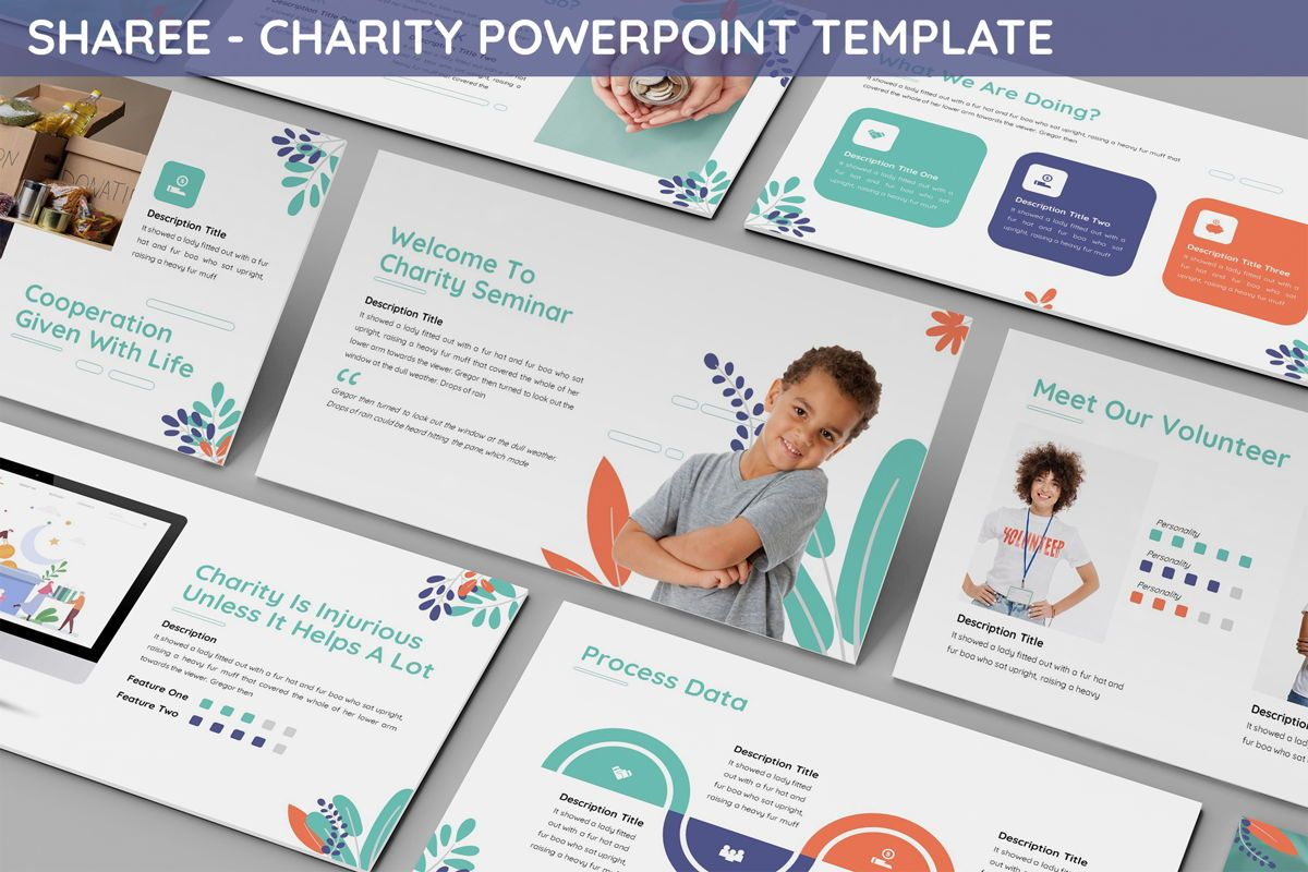 Sharee - Charity Powerpoint Template, 06241, Data Driven Diagrams and Charts — PoweredTemplate.com