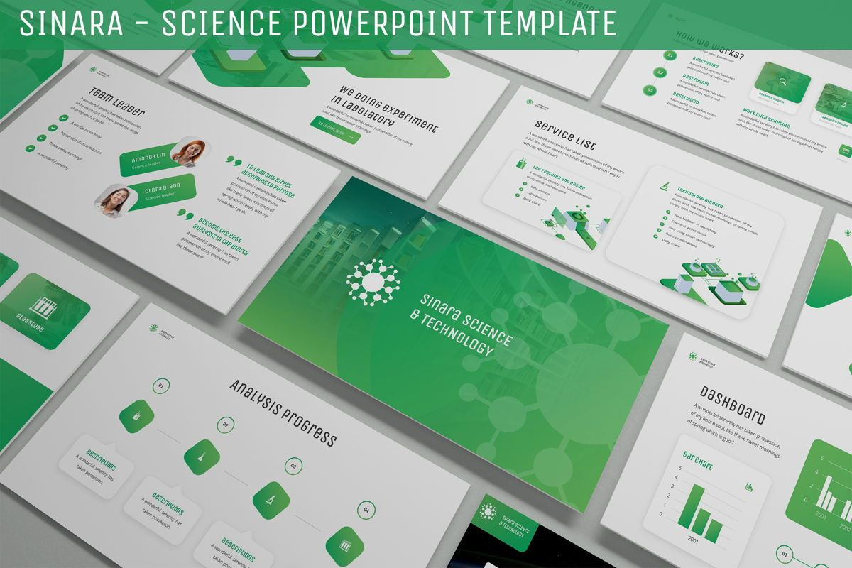 Sinara - Science Powerpoint Template, 06243, Data Driven Diagrams and Charts — PoweredTemplate.com