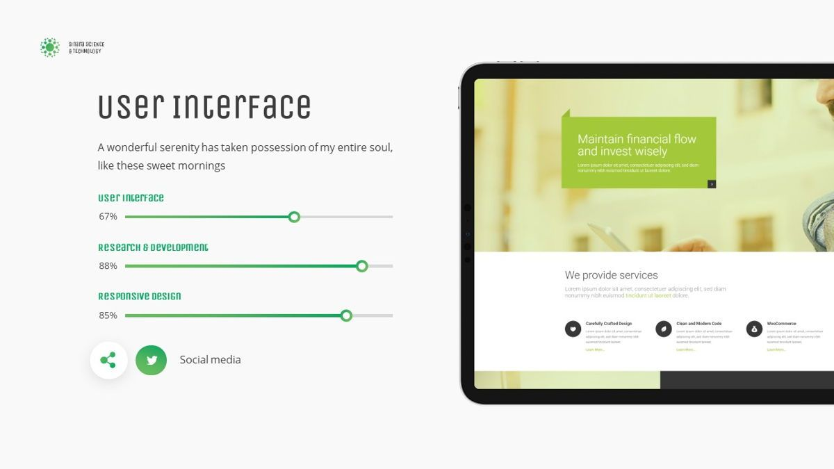 Sinara - Science Powerpoint Template, Slide 21, 06243, Data Driven Diagrams and Charts — PoweredTemplate.com