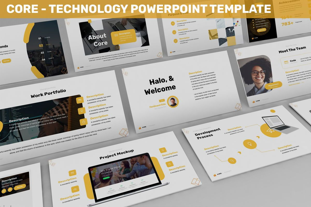 Core - Technology Powerpoint Template, 06247, Business Models — PoweredTemplate.com