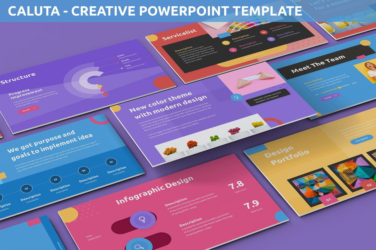 Caluta - Creative Powerpoint Template, 06251, Data Driven Diagrams and Charts — PoweredTemplate.com