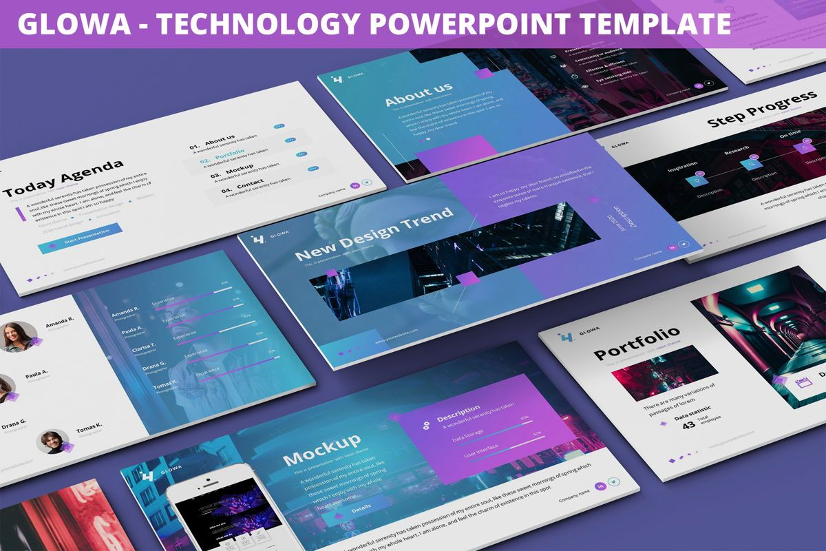 Glowa - Technology Powerpoint Template, 06254, Business Models — PoweredTemplate.com