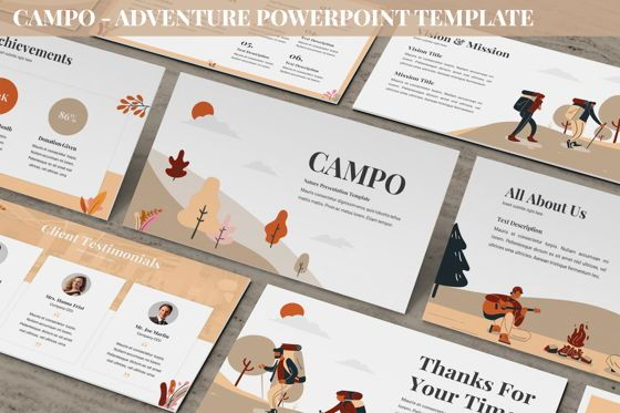 Data Driven Diagrams and Charts: Campo - Adventure Powerpoint Template #06258