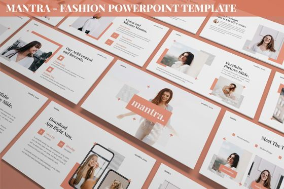Data Driven Diagrams and Charts: Mantra - Fashion Powerpoint Template #06259