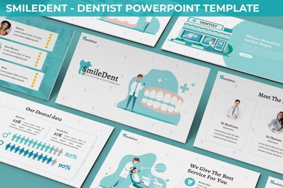 Data Driven Diagrams and Charts: SmileDent - Dentist Powerpoint Template #06260