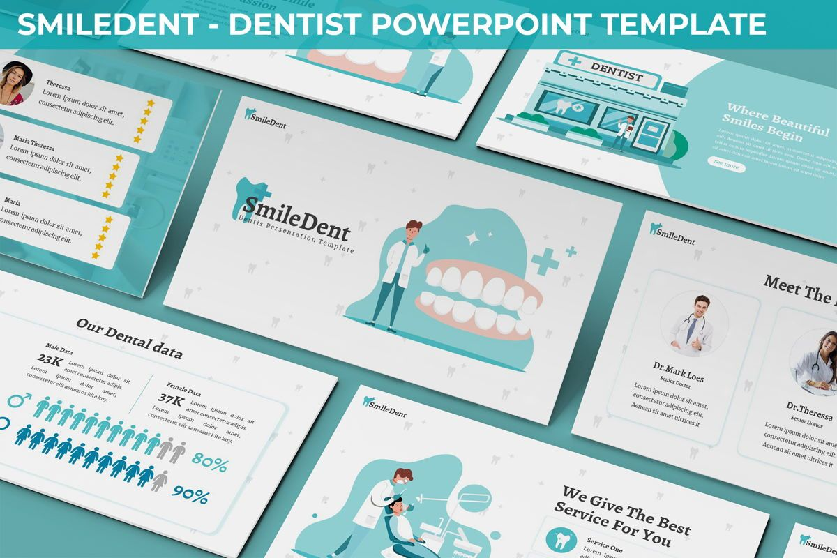 SmileDent - Dentist Powerpoint Template, 06260, Data Driven Diagrams and Charts — PoweredTemplate.com