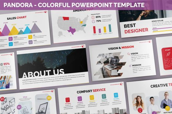Data Driven Diagrams and Charts: Pandora - Colorful Powerpoint Template #06263