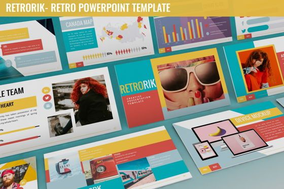 Data Driven Diagrams and Charts: Retrorik - Retro Powerpoint Template #06265