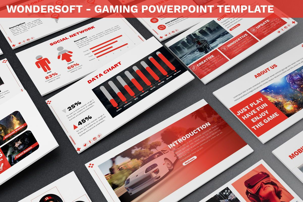 Wondersoft - Gaming Powerpoint Template, 06266, Data Driven Diagrams and Charts — PoweredTemplate.com