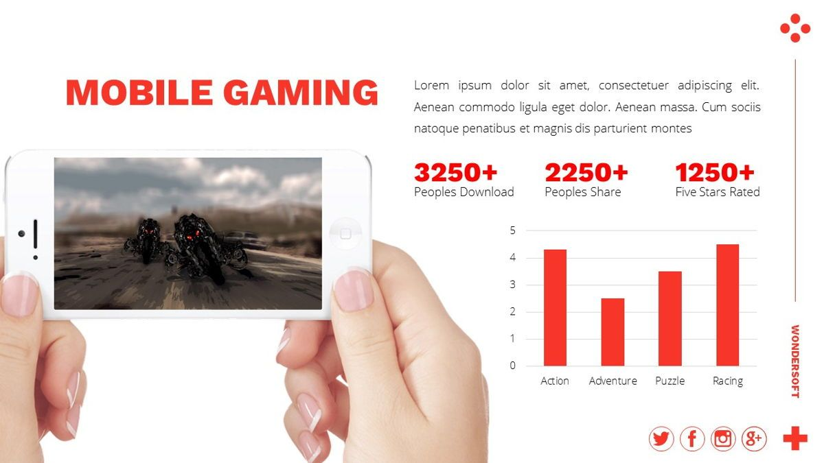 Wondersoft - Gaming Powerpoint Template, Slide 20, 06266, Data Driven Diagrams and Charts — PoweredTemplate.com