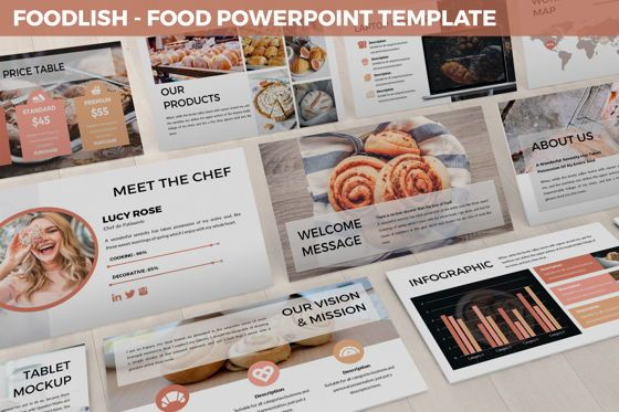 Data Driven Diagrams and Charts: Foodlish - Food Powerpoint Template #06268