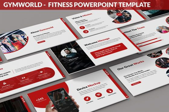 Data Driven Diagrams and Charts: Gymworld - Fitness Powerpoint Template #06275