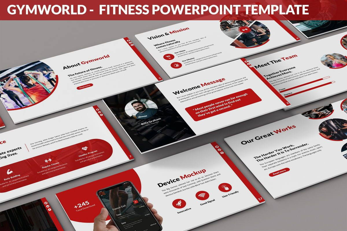 Gymworld - Fitness Powerpoint Template, 06275, Data Driven Diagrams and Charts — PoweredTemplate.com