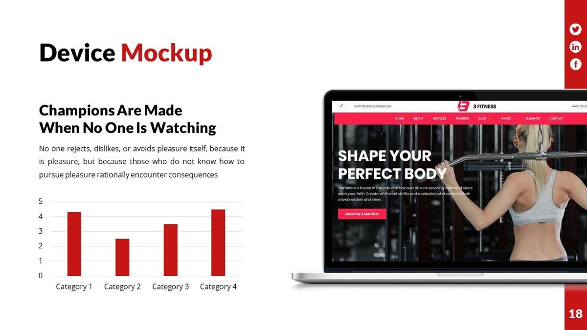 Gymworld - Fitness Powerpoint Template, Slide 19, 06275, Data Driven Diagrams and Charts — PoweredTemplate.com