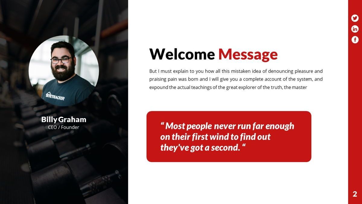 Gymworld - Fitness Powerpoint Template, Slide 3, 06275, Data Driven Diagrams and Charts — PoweredTemplate.com